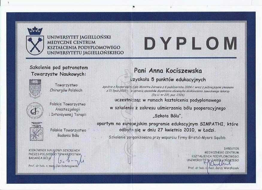 Anna Kociszewska-Bald dyplom Szkoła Bólu. Uśmierzanie bólu pooperacyjnego.