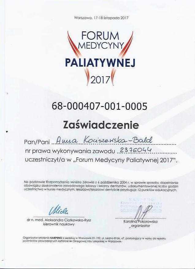 Anna Kociszewska-Bald forum medycyny paliatywnej zaświadczenie uczestnictwa