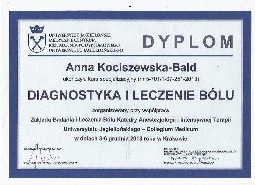 Anna Kociszewska-Bald dyplom ukończenia kursu diagnostyka i leczenie bólu