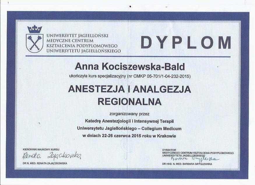 Anna Kociszewska-Bald Dyplom ukończenia kursu anestezja i analgezja regionalna