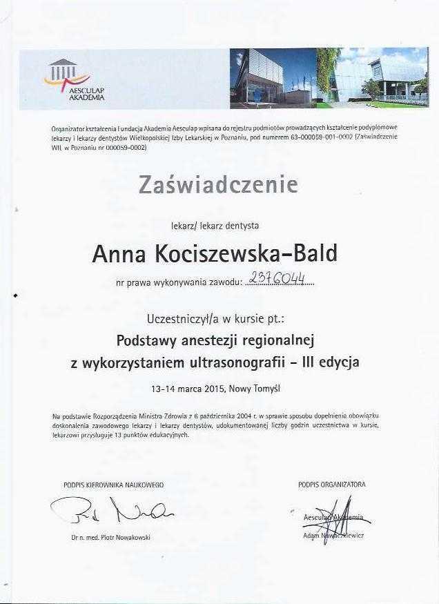 Anna Kociszewska-Bald Szkolenie z anestezji regionalenej z wykorzystaniem USG