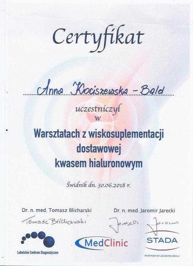 Anna Kociszewska-Bald certyfikat ukończenia warsztatów z wiskosuplementacji dostawowej kwasem hialuronowym