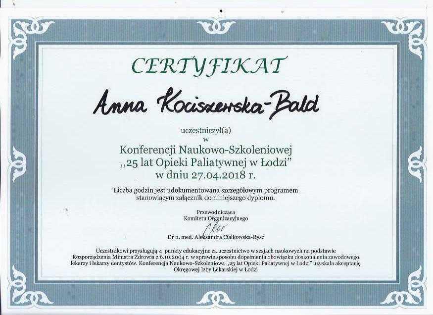 Anna Kociszewska-Bald certyfikat konferencja naukowo-szkoleniowa