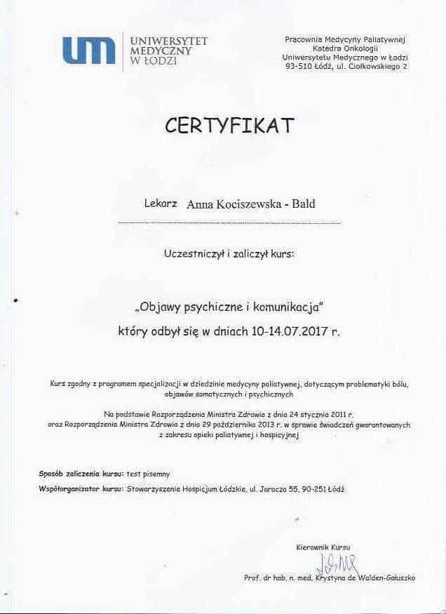 Anna Kociszewska-Bald certyfikat medycyna paliatywna 2
