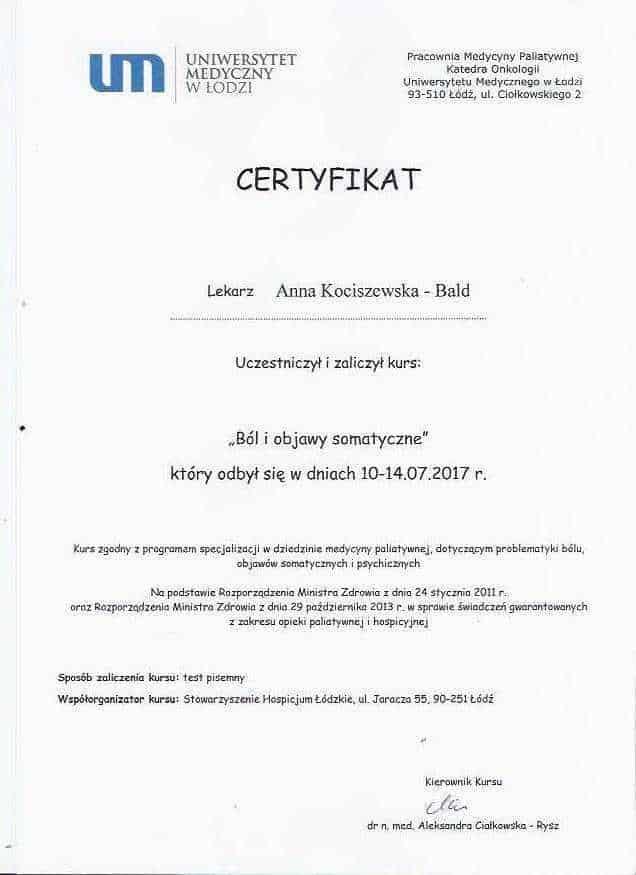 Anna Kociszewska-Bald certyfikat medycyna paliatywna