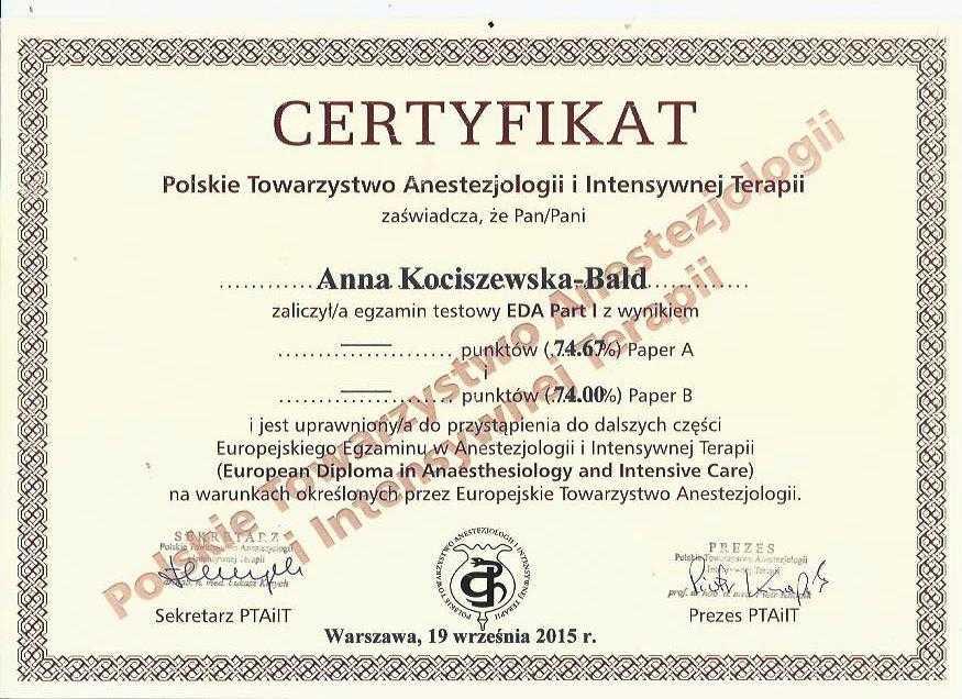 Anna Kociszewska-Bald EDA certyfikat