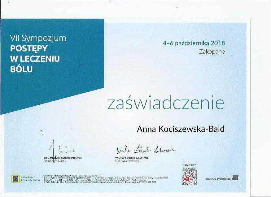 Anna Kociszewska-Bald sympozjum postępy w leczeniu bólu